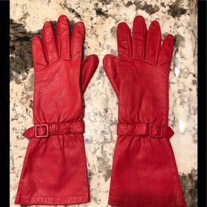 Long Red Leather Gloves